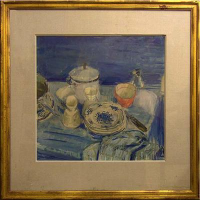 Evelyn Rowat - Table Setting in Blue Wash -