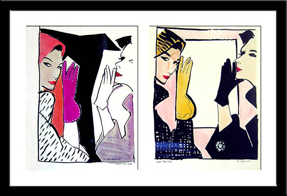 Rene Marcil - 2 Fashion Paintings -